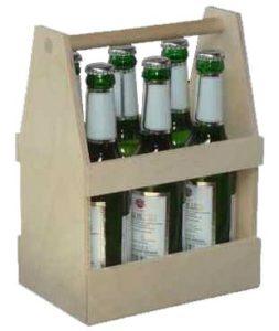 Sechserträger aus Holz für Bierflaschen